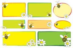 Etiquetas do miúdo - abelha e margaridas Fotografia de Stock Royalty Free