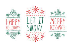 Etiquetas do Natal com texto no fundo branco Imagem de Stock Royalty Free