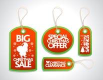 Etiquetas do Natal da venda ajustadas, vermelho Foto de Stock Royalty Free