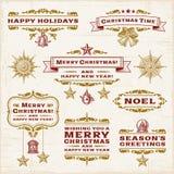 Etiquetas do Natal do vintage Fotos de Stock Royalty Free