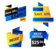 Etiquetas do negócio do origâmi Fotografia de Stock Royalty Free