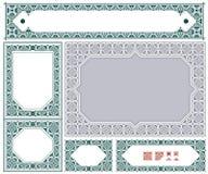 Etiquetas do ornamento do vintage do vetor em versões diferentes ilustração stock