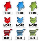 Etiquetas do ponteiro - aqui, mais, compra Imagens de Stock Royalty Free