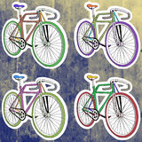 Etiquetas do pop art ajustadas Mão que tira a bicicleta retro Imagens de Stock