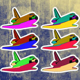 Etiquetas do pop art ajustadas Mão que tira a canela retro Fotos de Stock