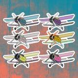 Etiquetas do pop art ajustadas Mão que tira o avião retro Fotografia de Stock
