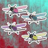 Etiquetas do pop art ajustadas Mão que tira o avião retro Fotos de Stock