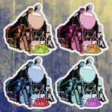 Etiquetas do pop art ajustadas Mão que tira o trem retro Fotos de Stock Royalty Free