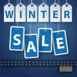 Etiquetas do preço de venda do inverno das calças de brim Imagem de Stock