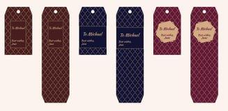Etiquetas do presente com teste padrão marroquino no marrom da testa, azul, escuro - vermelho com ornamento bege e lugar para o t ilustração royalty free