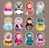 Etiquetas do russo dos desenhos animados Fotografia de Stock
