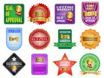 Etiquetas do selo de aprovação Fotografia de Stock Royalty Free