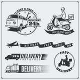 Etiquetas do serviço de entrega, emblemas, crachás e elementos do projeto 24 horas de entrega do alimento Fotografia de Stock