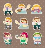 Etiquetas do tempo do chá do trabalhador de escritório dos desenhos animados Fotos de Stock Royalty Free
