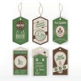 Etiquetas do verde do vintage ilustração stock