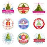 Etiquetas do vetor do Feliz Natal Emblemas retros e logotipos do feriado de inverno ilustração royalty free