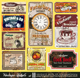 Etiquetas do vintage - jogo 11 Foto de Stock Royalty Free