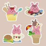 Etiquetas doces do coelho ilustração royalty free