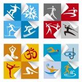 Etiquetas dos ícones da aptidão do esporte Fotos de Stock