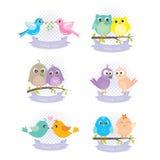 Etiquetas dos desenhos animados do pássaro Imagens de Stock