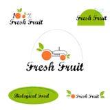 Etiquetas dos logotipos do fruto fresco Foto de Stock Royalty Free