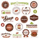 Etiquetas dos restaurantes do sanduíche Imagem de Stock Royalty Free