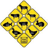 Etiquetas dos sinais da carne ajustadas Imagem de Stock