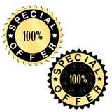 Etiquetas douradas da oferta especial Fotografia de Stock Royalty Free