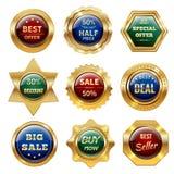 Etiquetas douradas da venda Fotos de Stock Royalty Free