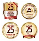 Etiquetas douradas do aniversário 25 anos Foto de Stock Royalty Free