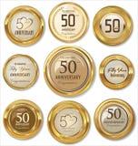 Etiquetas douradas do aniversário, 50 anos Foto de Stock