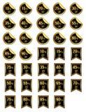 Etiquetas douradas do disconto diferente da venda ilustração stock