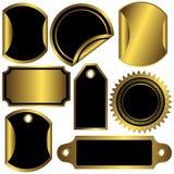 Etiquetas douradas e pretas ajustadas (vetor) Imagens de Stock Royalty Free