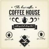Etiquetas e ícones da casa do café do vintage Imagem de Stock Royalty Free