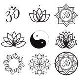 Etiquetas e ícones da ioga Imagem de Stock