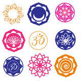 Etiquetas e ícones da ioga Imagem de Stock Royalty Free