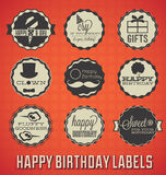 Etiquetas e ícones do feliz aniversario Fotografia de Stock Royalty Free