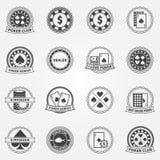 Etiquetas e ícones do pôquer ajustados Fotos de Stock