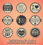 Etiquetas e ícones felizes do dia de mães do vintage Foto de Stock