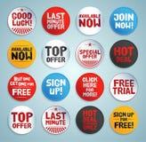 Etiquetas e botões do Promo Fotografia de Stock