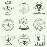 Etiquetas e ícones do badminton ajustados Vetor Foto de Stock Royalty Free
