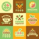 Etiquetas e elementos orgânicos frescos, ícones ilustração royalty free