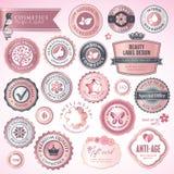 Etiquetas e emblemas dos cosméticos ilustração royalty free