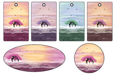 Etiquetas e etiquetas com árvores cor-de-rosa ilustração stock