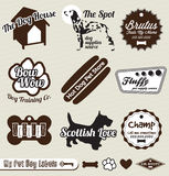 Etiquetas e etiquetas da loja do cão de animal de estimação Fotografia de Stock