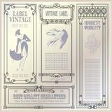 Etiquetas e etiquetas do estilo do vintage do vetor em versões diferentes ilustração stock