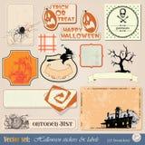 Etiquetas e etiquetas Halloween Fotografia de Stock