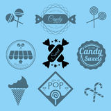 Etiquetas e iconos de la tienda del caramelo Fotos de archivo libres de regalías