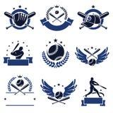 Etiquetas e iconos del béisbol fijados Vector Fotografía de archivo