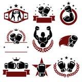 Etiquetas e iconos del boxeo fijados Vector Foto de archivo libre de regalías